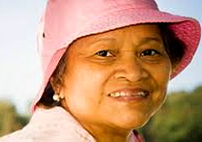 old woman with pink hat